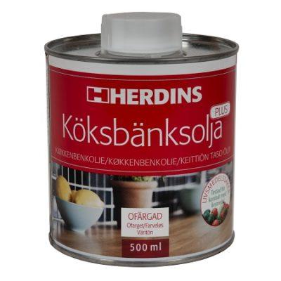 Herdins Köksbänksolja PLUS olja för att våra köksbänkar matbord och skärbrädor