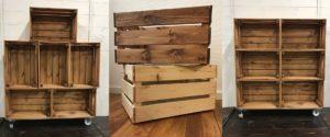 Herdins hylla av trälådor äppellådor bets inspiration
